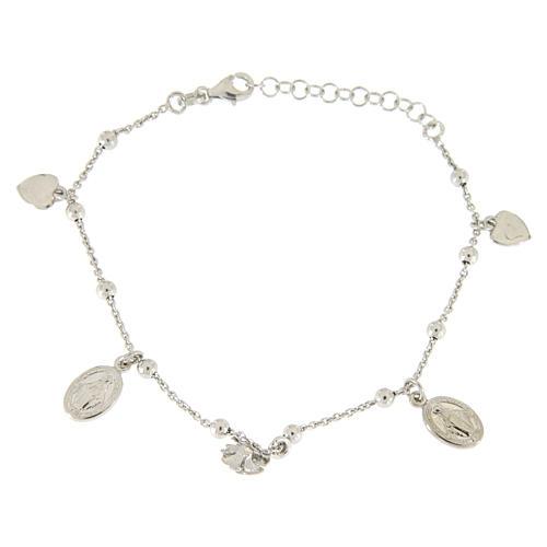 Bracciale pendenti: medagliette santa, cuori e rosa argento 925 2