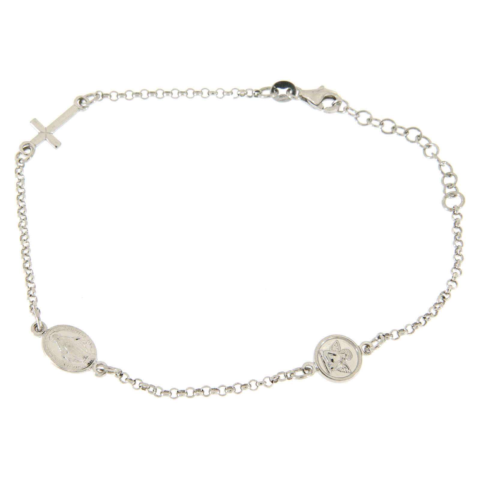 Bracelet with linear charms: medalet and cross in 925 sterling silver 4