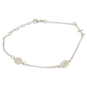 Bracelet with linear charms: medalet and cross in 925 sterling silver s2