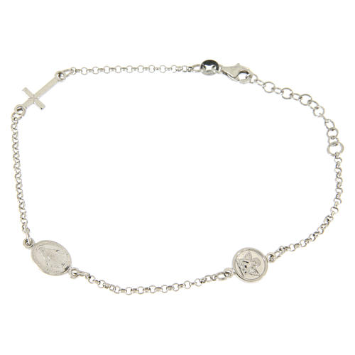 Bracelet with linear charms: medalet and cross in 925 sterling silver 1