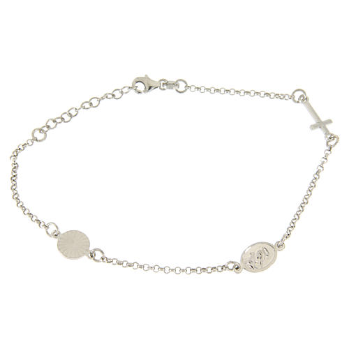 Bracelet with linear charms: medalet and cross in 925 sterling silver 2