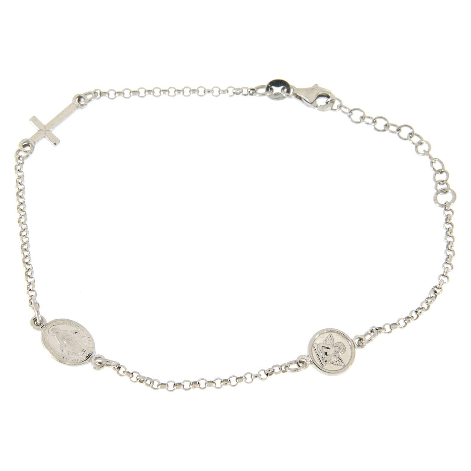 Bracciale con charm in linea: medagliette e croce argento 925 4