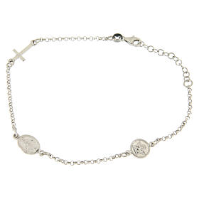 Silver bracelets: Bracelet with linear charms: medalet and cross in 925 sterling silver