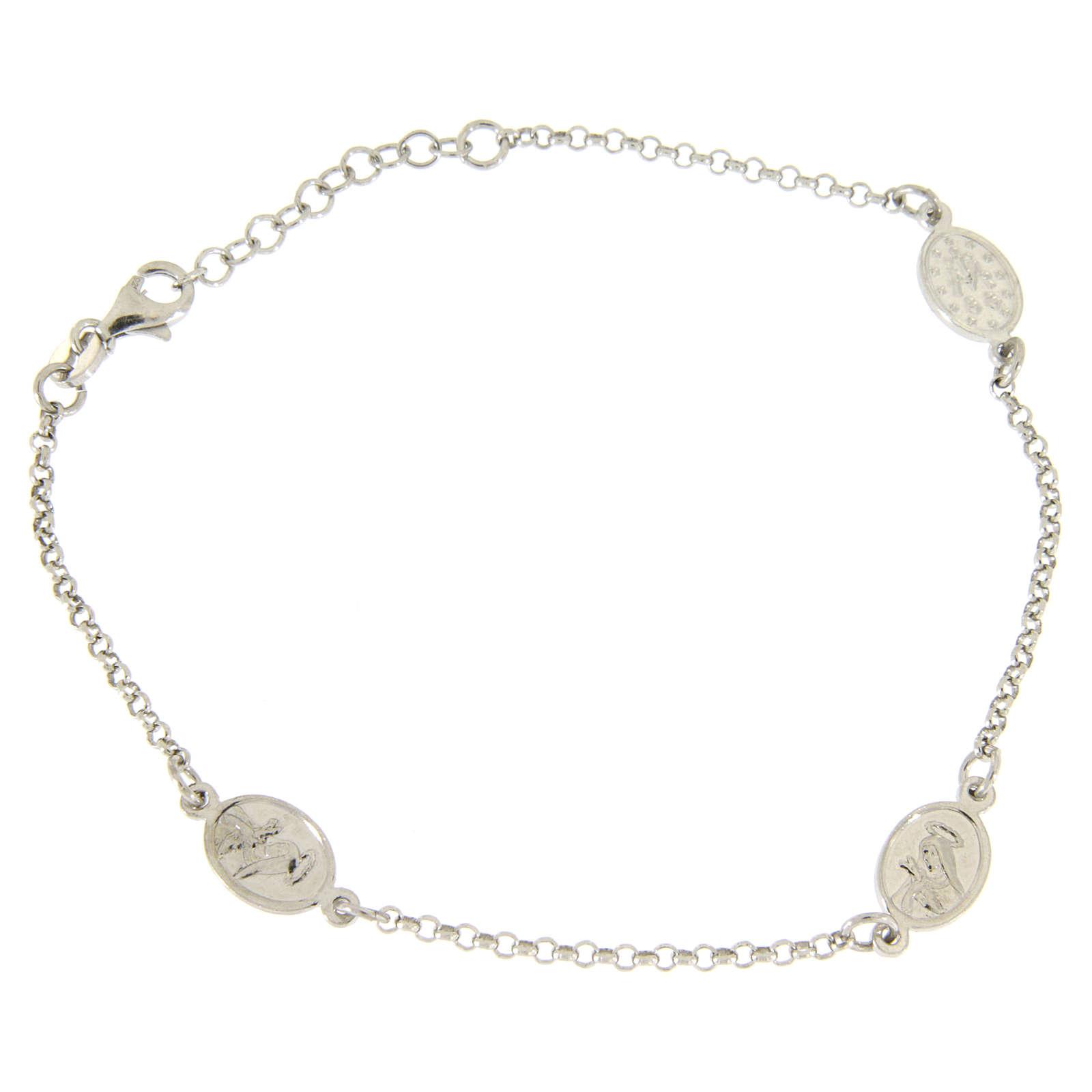 Bracciale con medagliette applicate in linea argento 925 4