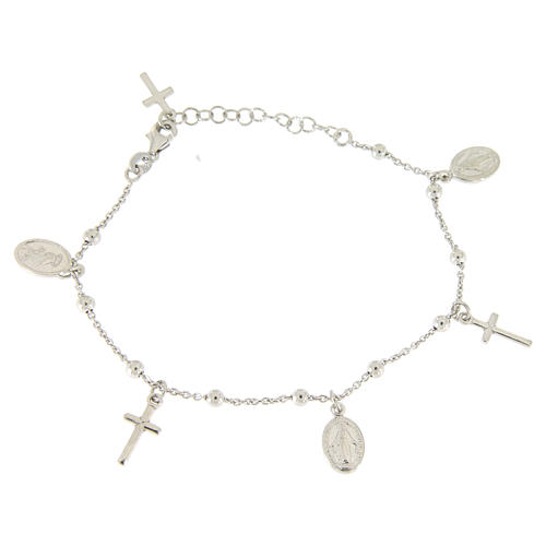 Bracelet with pendant medalets and 925 sterling silver crosses 1