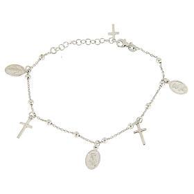 Pulsera colgantes pequeñas medallas y cruz plata 925 s2