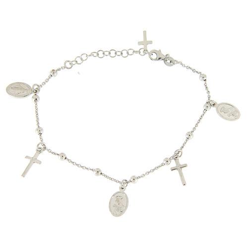 Pulsera colgantes pequeñas medallas y cruz plata 925 2