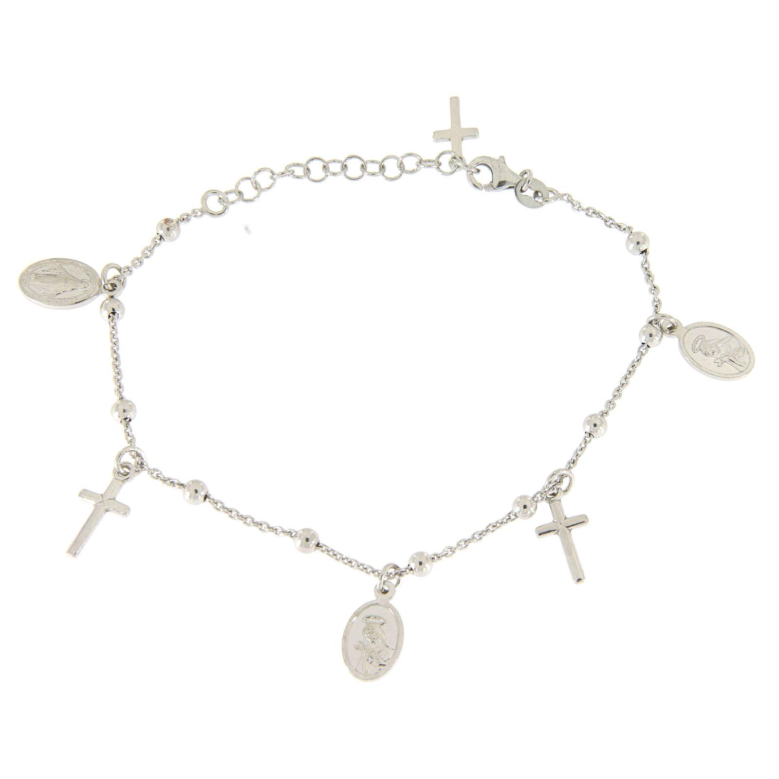 Bracelet pendentifs médailles et croix argent 925 4