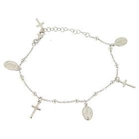 Bracelet pendentifs médailles et croix argent 925 s1