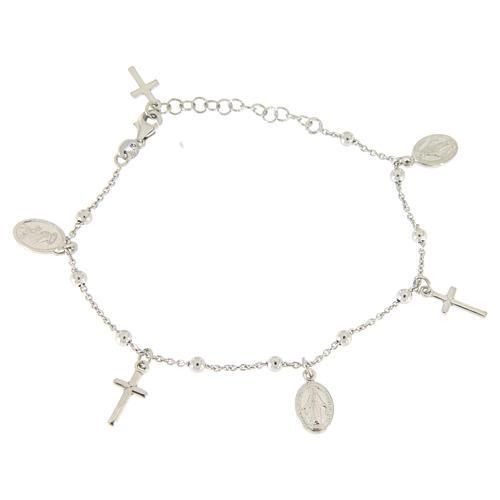 Bracelet pendentifs médailles et croix argent 925 1