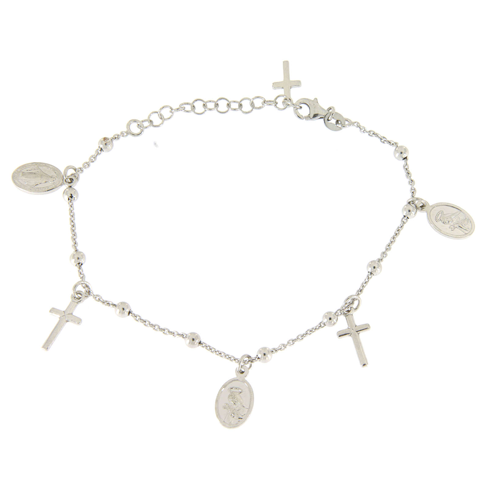 Bracelet with pendant medalets and 925 sterling silver crosses 4
