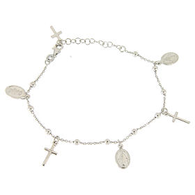 Bracelet with pendant medalets and 925 sterling silver crosses s1