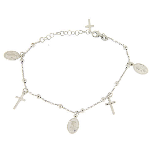 Bracelet with pendant medalets and 925 sterling silver crosses 2