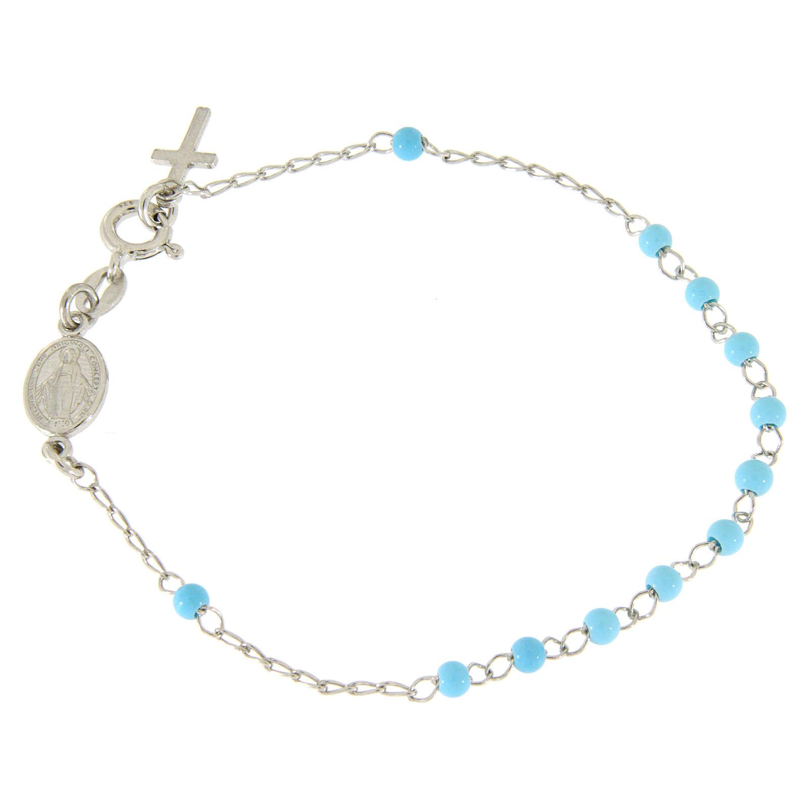 Pulsera rosario esfera celeste 4 mm y cadena silver 4
