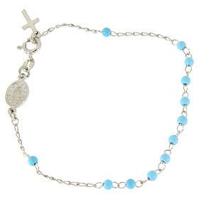 Pulsera rosario esfera celeste 4 mm y cadena silver s2