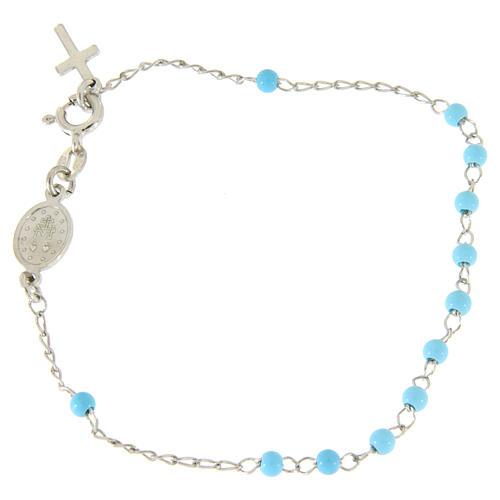 Pulsera rosario esfera celeste 4 mm y cadena silver 2