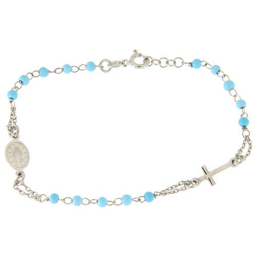 Pulsera rosario plata 925 con esferas celestes 4 mm 2