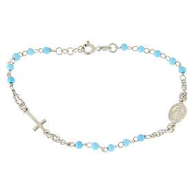 Bracciale rosario argento 925 con sfere azzurre 4mm s1