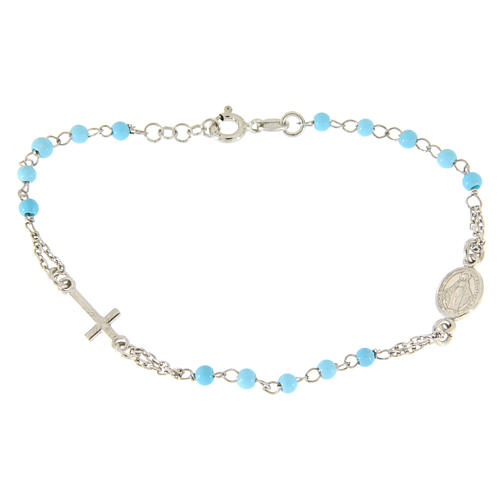 Rosary bracelet in 925 sterling silver with light blue spheres sized 4 mm 1