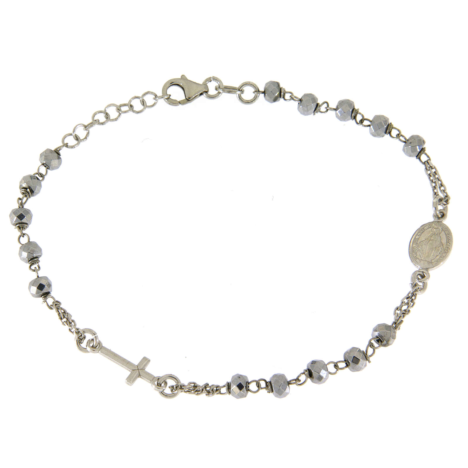 Rosary bracelet with hematite sphere in rhodium sized 5 mm and silver chain 4