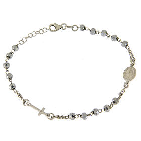 Rosary bracelet with hematite sphere in rhodium sized 5 mm and silver chain s1