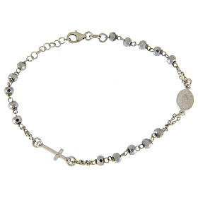 Rosary bracelet with hematite sphere in rhodium sized 5 mm and silver chain s2
