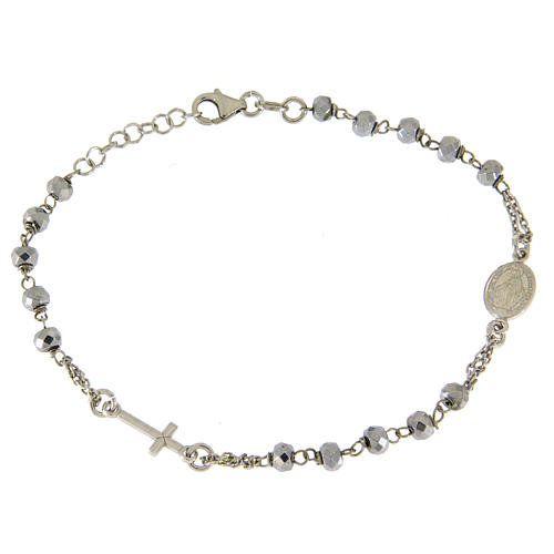 Rosary bracelet with hematite sphere in rhodium sized 5 mm and silver chain 1