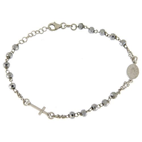 Rosary bracelet with hematite sphere in rhodium sized 5 mm and silver chain 2