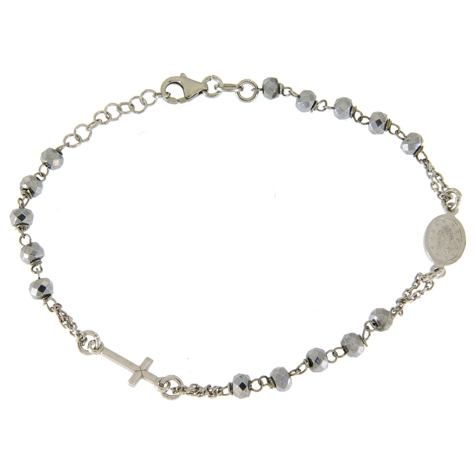Bracciale rosario sfera ematite rodiata 5 mm e catenina color silver 4