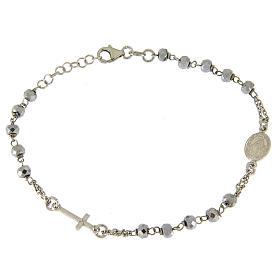 Bracciale rosario sfera ematite rodiata 5 mm e catenina color silver s1