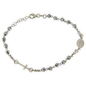 Bracciale rosario sfera ematite rodiata 5 mm e catenina color silver s2