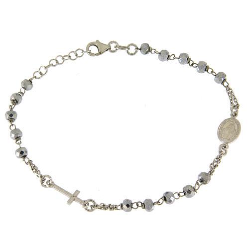Bracciale rosario sfera ematite rodiata 5 mm e catenina color silver 1