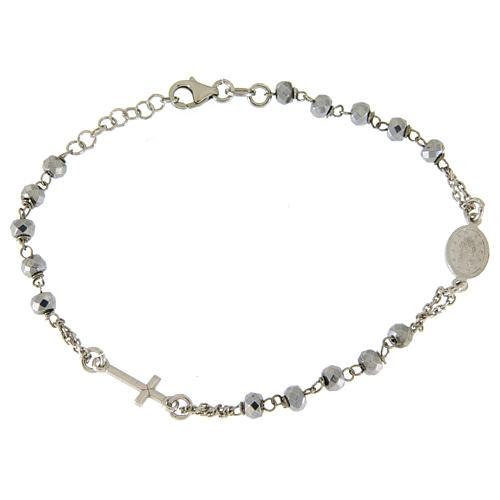 Bracciale rosario sfera ematite rodiata 5 mm e catenina color silver 2