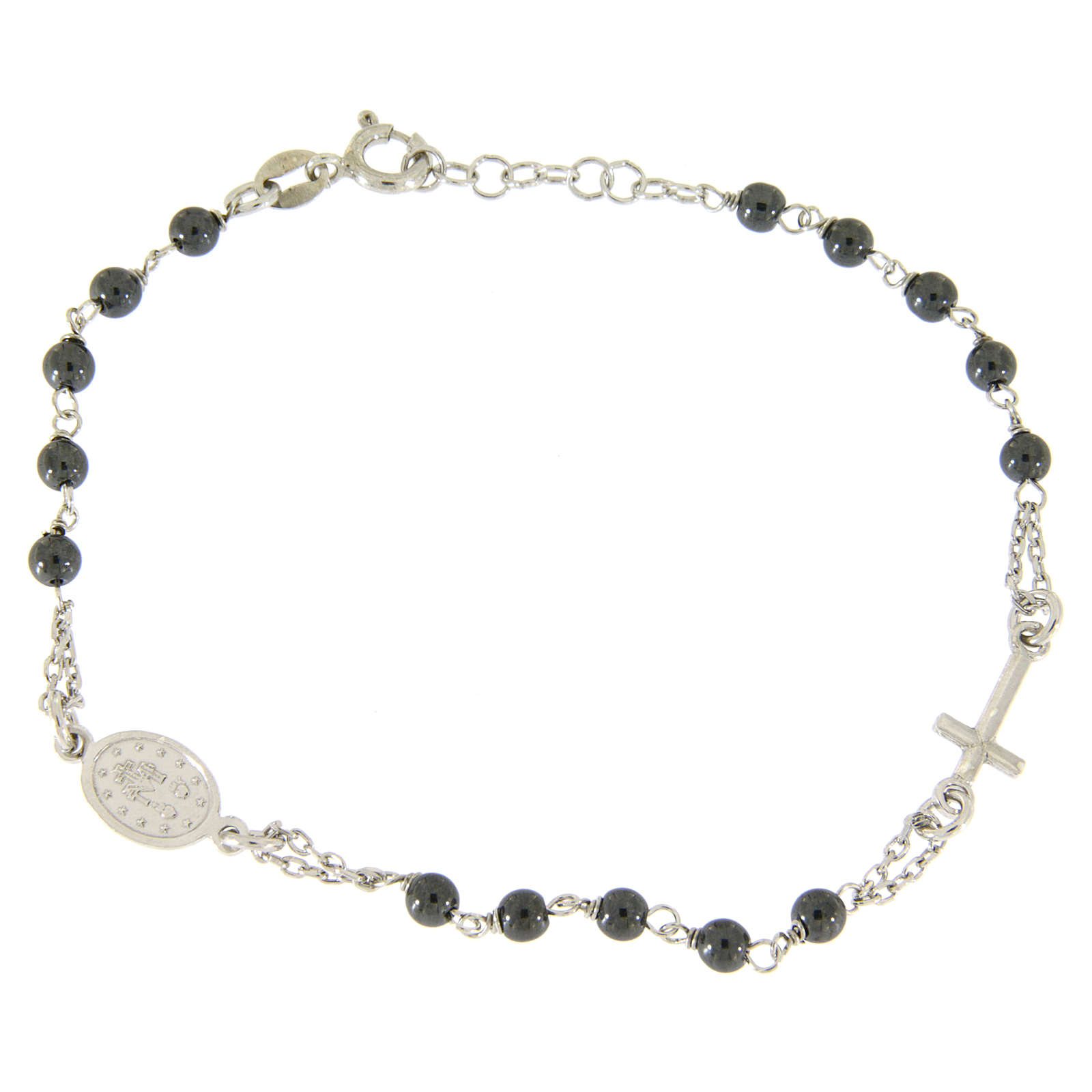 Rosary bracelet with hematite grains sized 4 mm coloured in silver 4