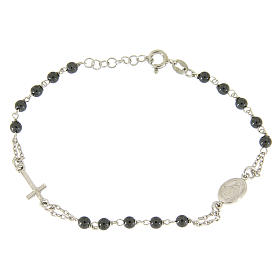 Silver bracelets: Rosary bracelet with hematite grains sized 4 mm coloured in silver