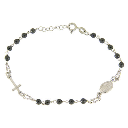 Rosary bracelet with hematite grains sized 4 mm coloured in silver 1