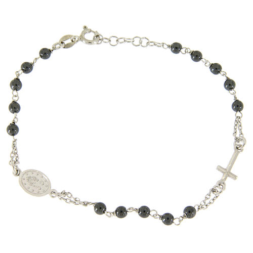 Rosary bracelet with hematite grains sized 4 mm coloured in silver 2
