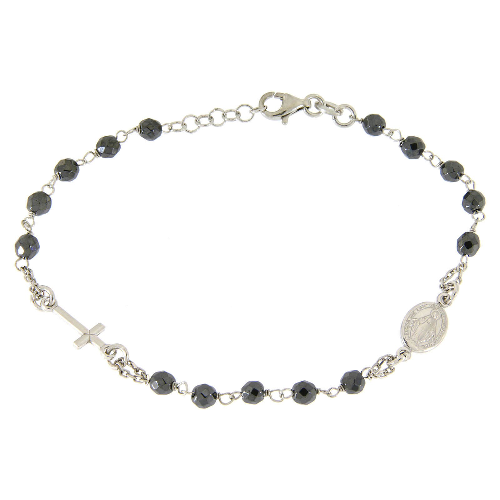 Rosary bracelet with 4,7 mm grains in hematite and silver chain 4