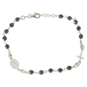 Rosary bracelet with 4,7 mm grains in hematite and silver chain s2