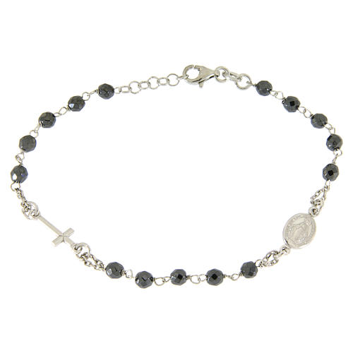 Rosary bracelet with 4,7 mm grains in hematite and silver chain 1