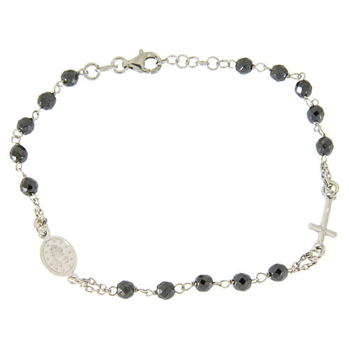 Rosary bracelet with 4,7 mm grains in hematite and silver chain 2