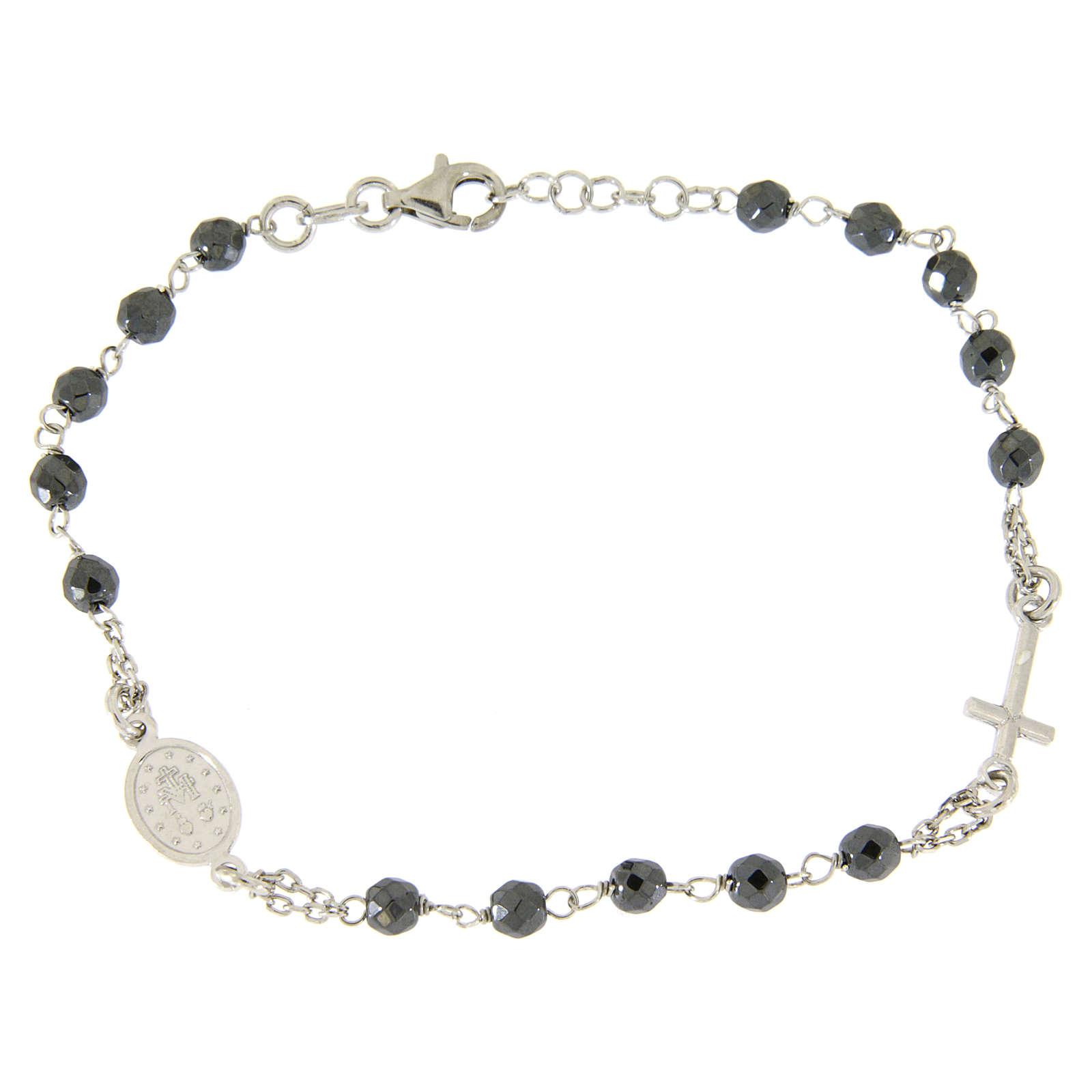 Bracciale rosario grani 4,7 mm ematite e catenina argento 4
