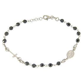 Bracciale rosario grani 4,7 mm ematite e catenina argento s1
