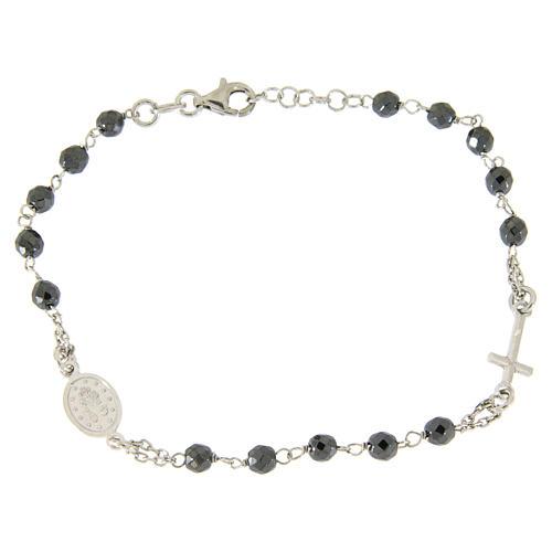 Bracciale rosario grani 4,7 mm ematite e catenina argento 2