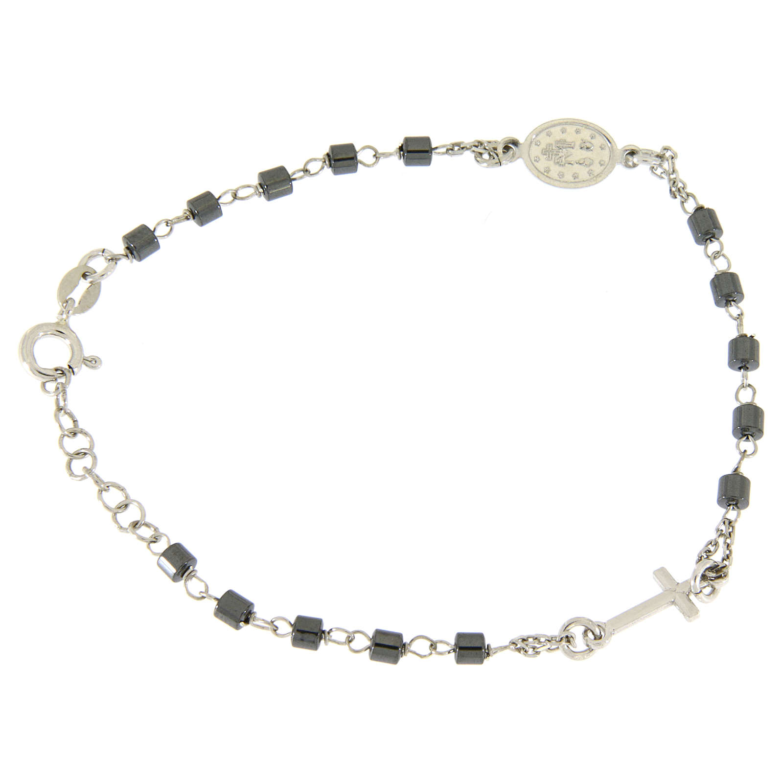 Rosary bracelet in silver with cylindric spheres in hematite 4