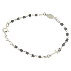 Rosary bracelet in silver with cylindric spheres in hematite s1