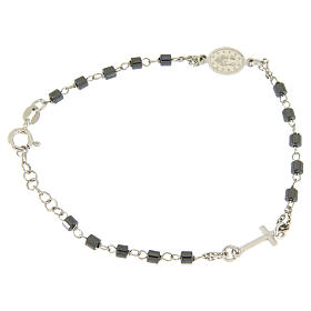 Rosary bracelet in silver with cylindric spheres in hematite s2