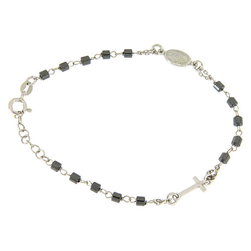 Rosary bracelet in silver with cylindric spheres in hematite 1