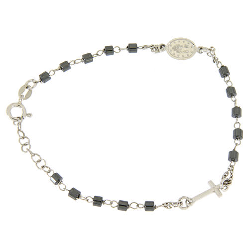 Rosary bracelet in silver with cylindric spheres in hematite 2
