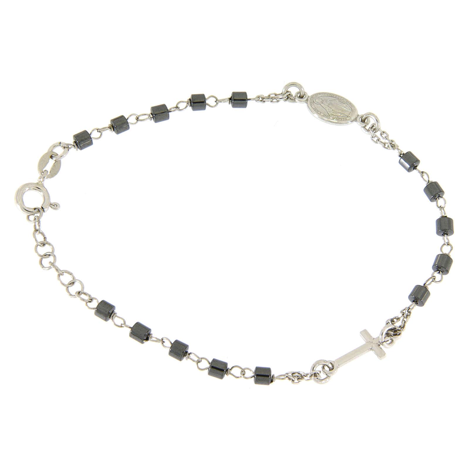 Bracciale rosario silver e sfere cilindriche ematite 4